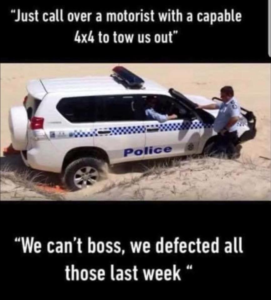 Police 4X4 bogged, caption reads