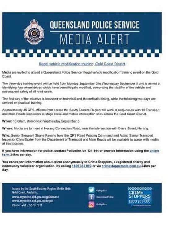 QLD Police media alert. If you know anyone who went, please contact us ASAP