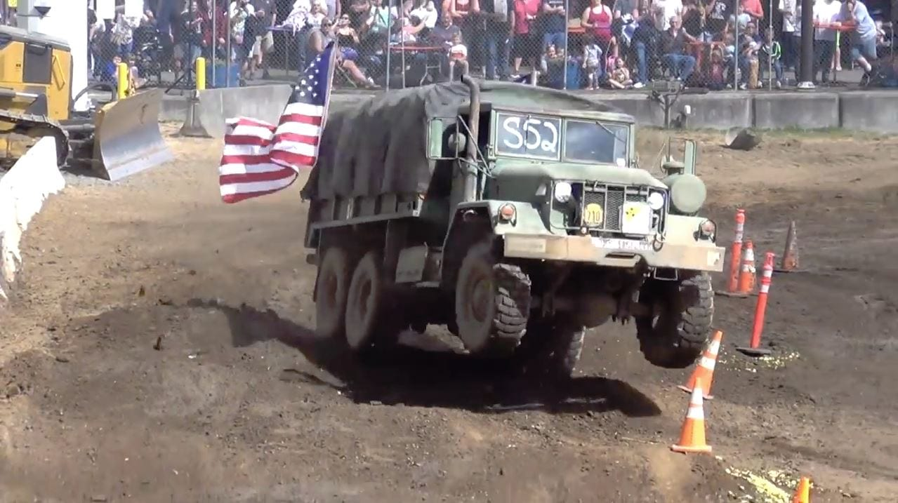 ex-US Army 6X6 runs tuff truck course