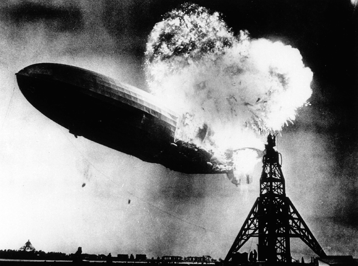 The Hindenburg, A Large German Commercial Passenger Carrying Rigid Airship, Destroyed By Fire.