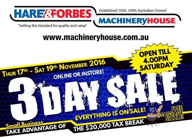 3-Day Sale: Hare & Forbes Machineryhouse