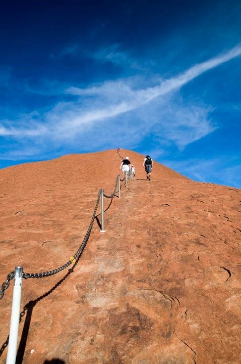 Not your regular Sunday stroll, climbing Uluru is steep and strenuous