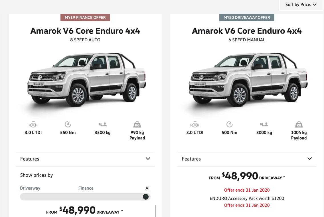2020 Amarok V6 Manual Core Enduro on-sale at $48,990 driveaway