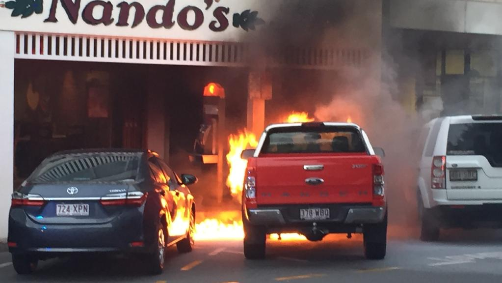 Ford Ranger catches fire in Cairns